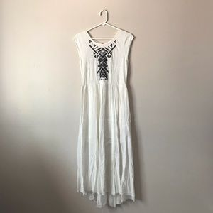 Free People off-white maxi boho embroidered dress